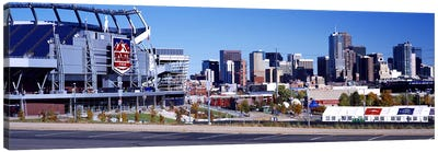 Stadium in a city, Sports Authority Field at Mile High, Denver, Denver County, Colorado, USA Canvas Art Print