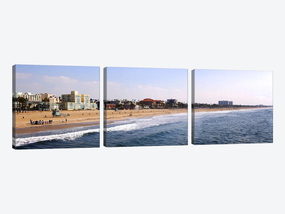 Surf on the beach, Santa Monica Beach, Santa Monica, Los Angeles County, California, USA by Panoramic Images 3-piece Canvas Art Print