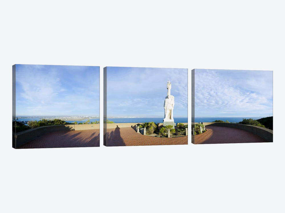 Monument on the coast, Cabrillo National Monument, Point Loma, San Diego, San Diego Bay, San Diego County, California, USA by Panoramic Images 3-piece Canvas Print