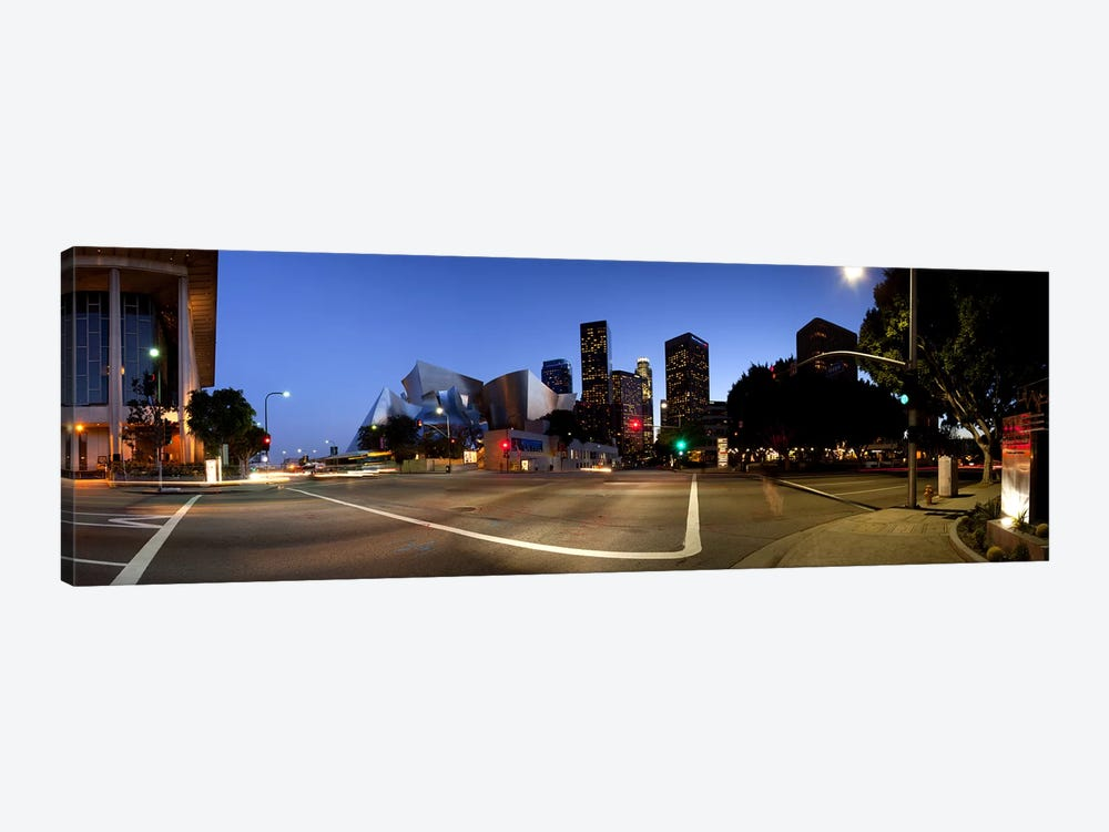 Concert hall lit up at night, Walt Disney Concert Hall, City Of Los Angeles, Los Angeles County, California, USA 2011 by Panoramic Images 1-piece Canvas Art Print