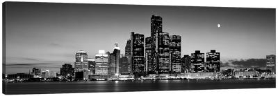Buildings at the waterfront, River Detroit, Detroit, Michigan, USA by Panoramic Images Canvas Art
