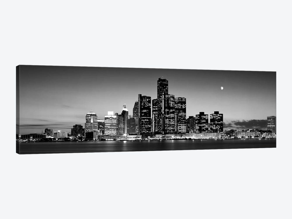 Buildings at the waterfront, River Detroit, Detroit, Michigan, USA by Panoramic Images 1-piece Canvas Wall Art