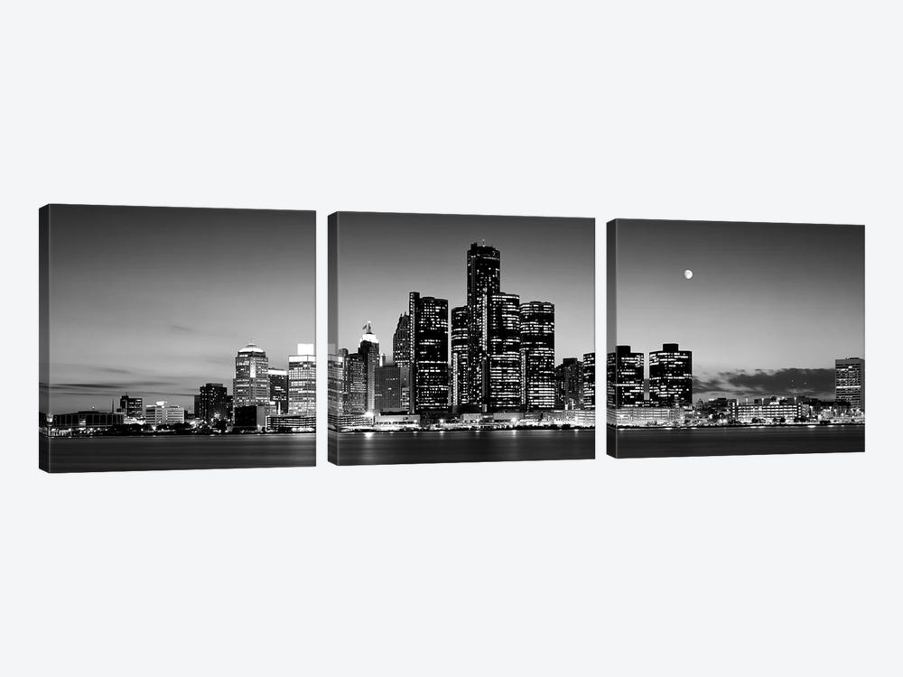 Buildings at the waterfront, River Detroit, Detroit, Michigan, USA by Panoramic Images 3-piece Canvas Art
