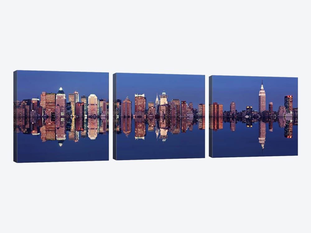 Skyscrapers at the waterfront, New York City, New York State, USA by Panoramic Images 3-piece Canvas Art