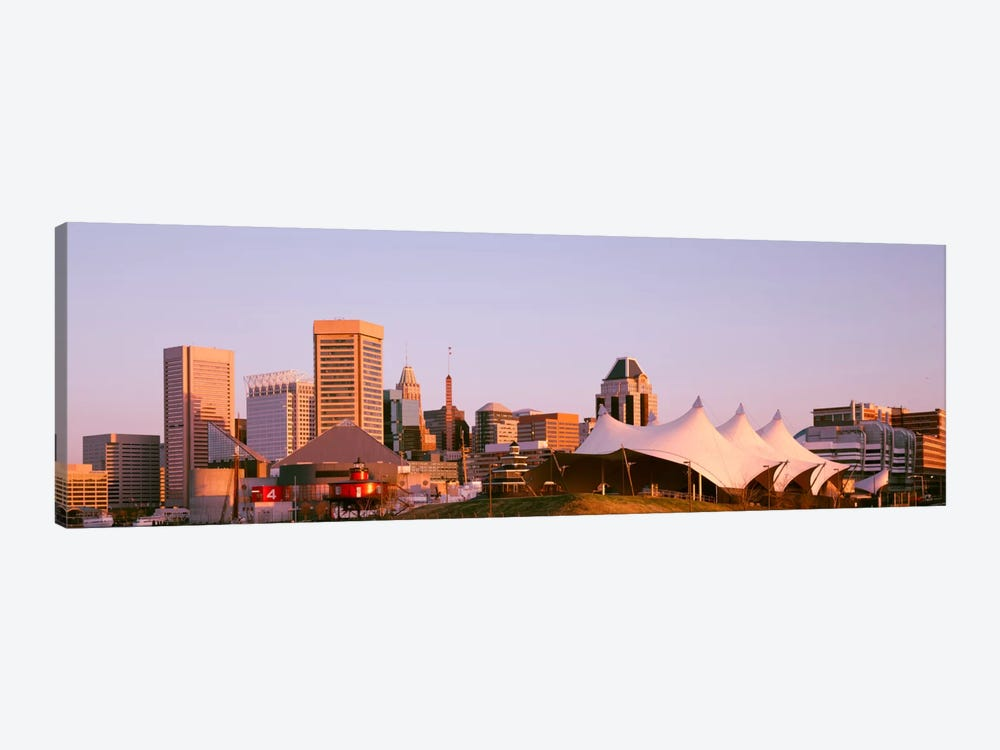 Morning skyline & Pier 6 concert pavilion Baltimore MD USA 1-piece Canvas Art