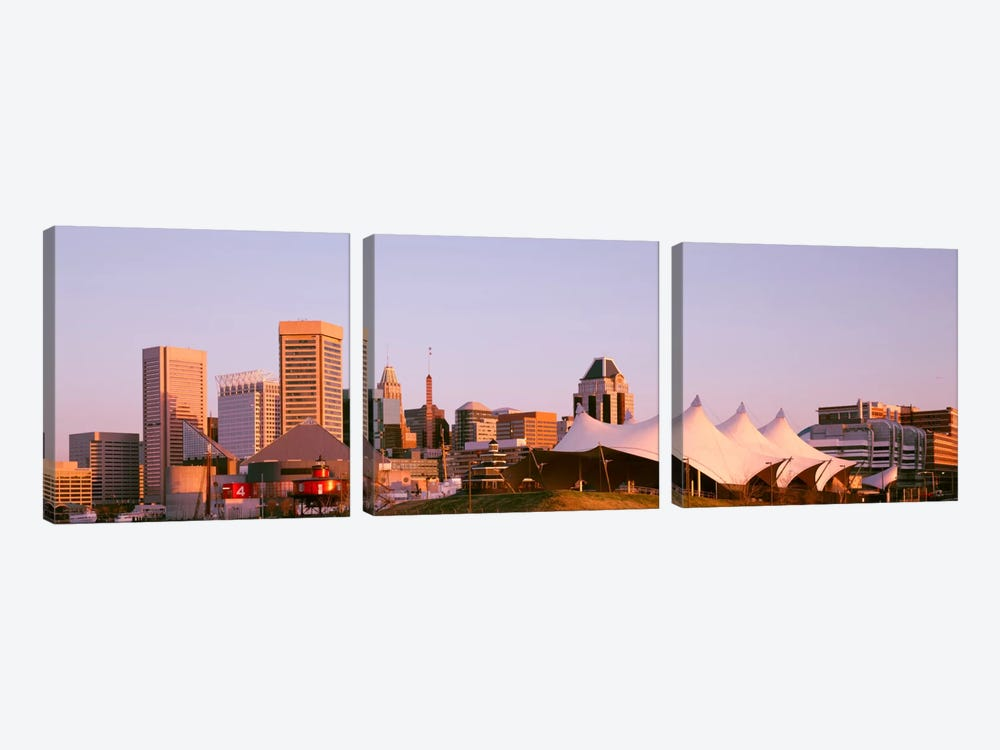 Morning skyline & Pier 6 concert pavilion Baltimore MD USA by Panoramic Images 3-piece Canvas Art