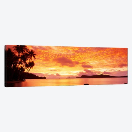 Sunset, Huahine Island, Tahiti Canvas Print #PIM104} by Panoramic Images Canvas Art
