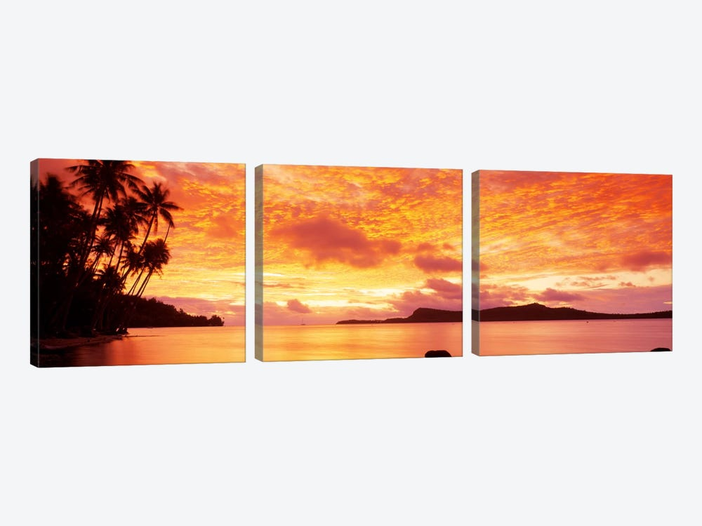 Sunset, Huahine Island, Tahiti by Panoramic Images 3-piece Canvas Art Print