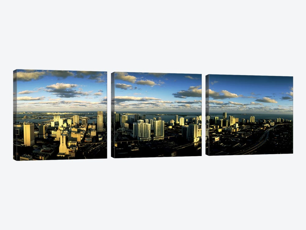 Clouds over the city skyline, Miami, Florida, USA by Panoramic Images 3-piece Canvas Artwork