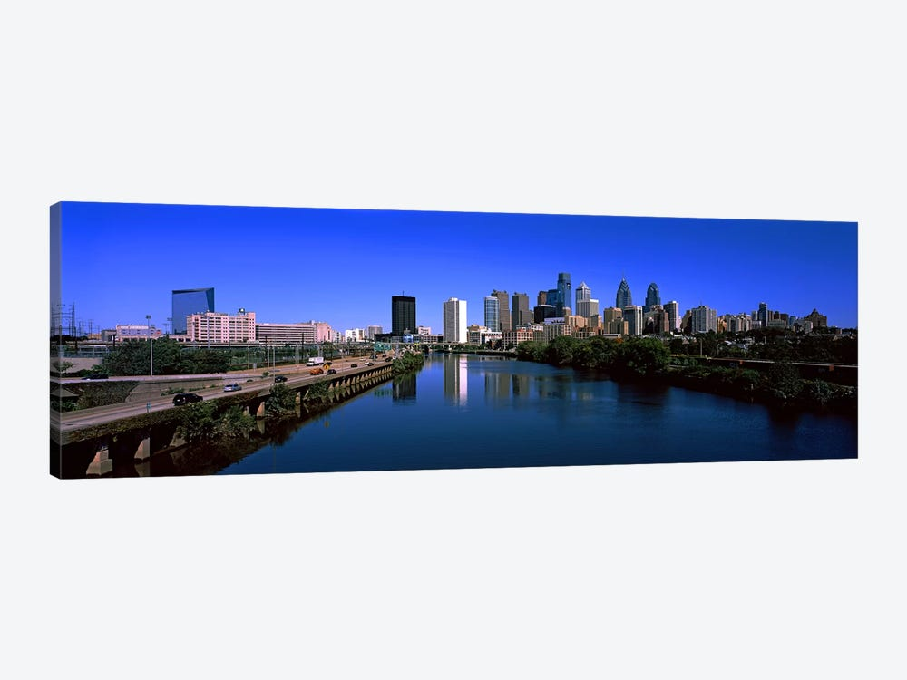 Buildings at the waterfront, Philadelphia, Schuylkill River, Pennsylvania, USA by Panoramic Images 1-piece Canvas Print