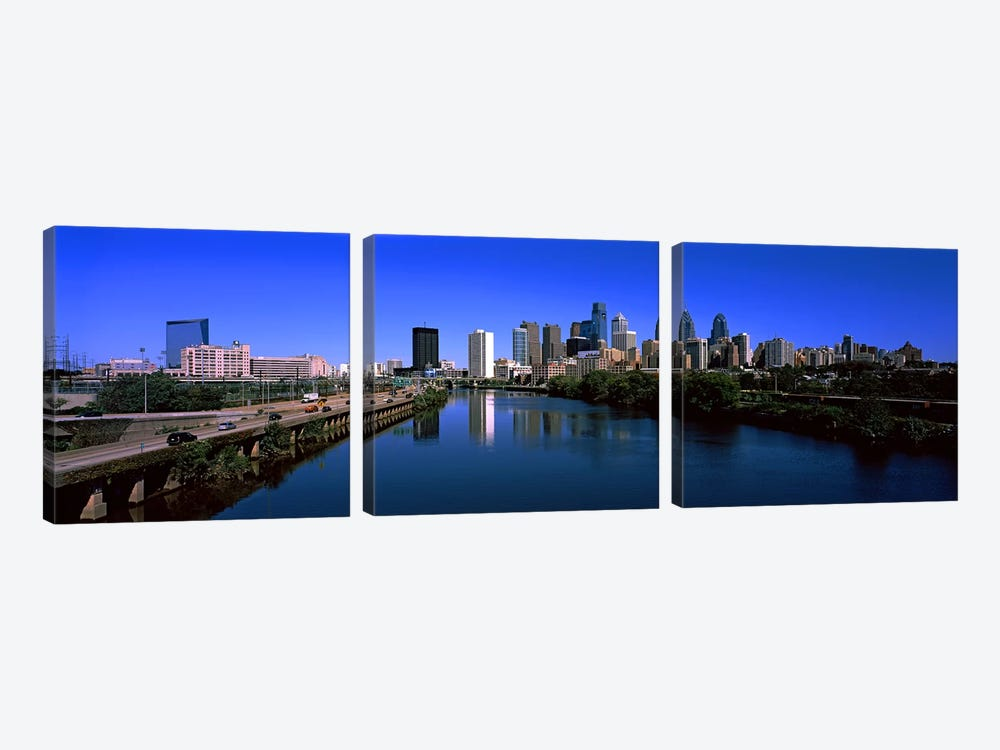 Buildings at the waterfront, Philadelphia, Schuylkill River, Pennsylvania, USA by Panoramic Images 3-piece Canvas Print