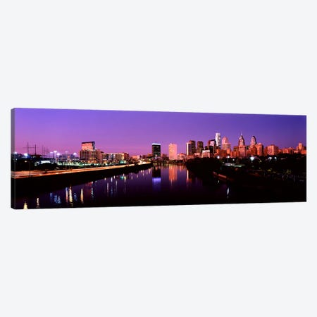 Buildings lit up at the waterfront, Philadelphia, Schuylkill River, Pennsylvania, USA #2 Canvas Print #PIM10572} by Panoramic Images Canvas Artwork