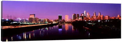 Buildings lit up at the waterfront, Philadelphia, Schuylkill River, Pennsylvania, USA #2 Canvas Art Print