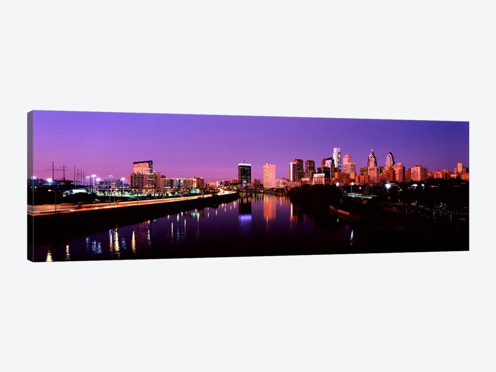 Buildings lit up at the waterfront, Philadelphia, Schuylkill River, Pennsylvania, USA #2 by Panoramic Images 1-piece Canvas Print
