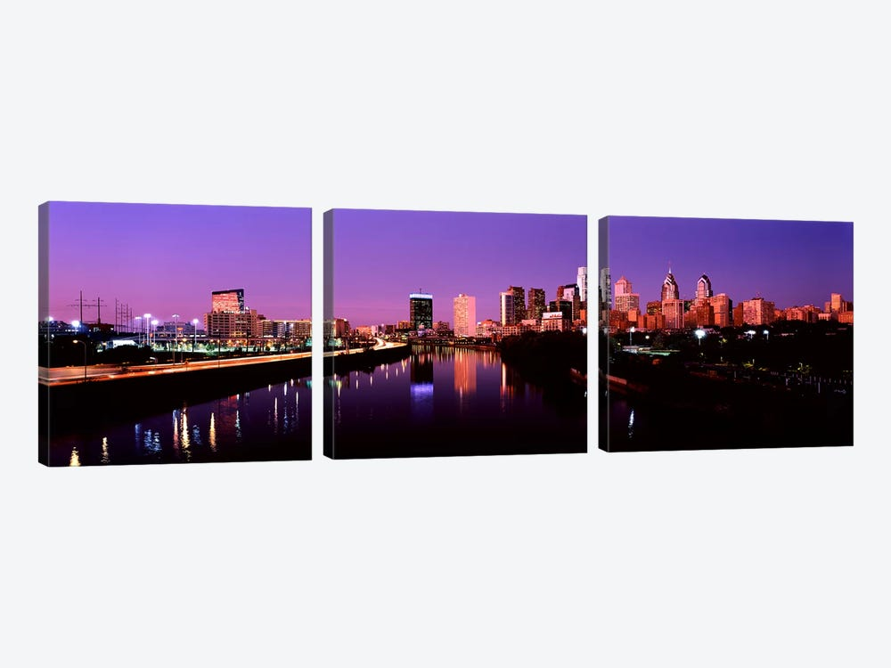 Buildings lit up at the waterfront, Philadelphia, Schuylkill River, Pennsylvania, USA #2 by Panoramic Images 3-piece Canvas Art Print