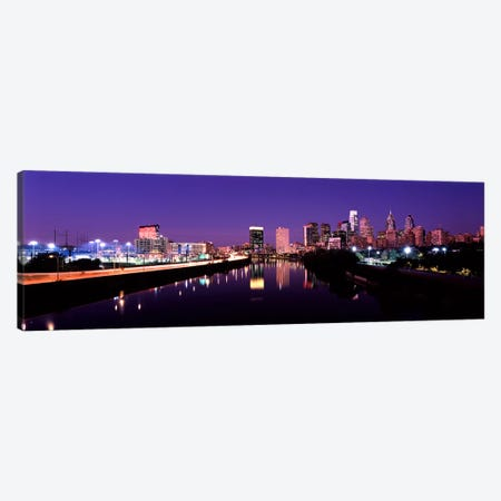 Buildings lit up at the waterfront, Philadelphia, Schuylkill River, Pennsylvania, USA #3 Canvas Print #PIM10573} by Panoramic Images Canvas Art