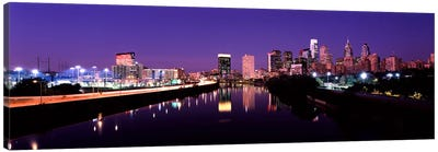Buildings lit up at the waterfront, Philadelphia, Schuylkill River, Pennsylvania, USA #3 Canvas Art Print