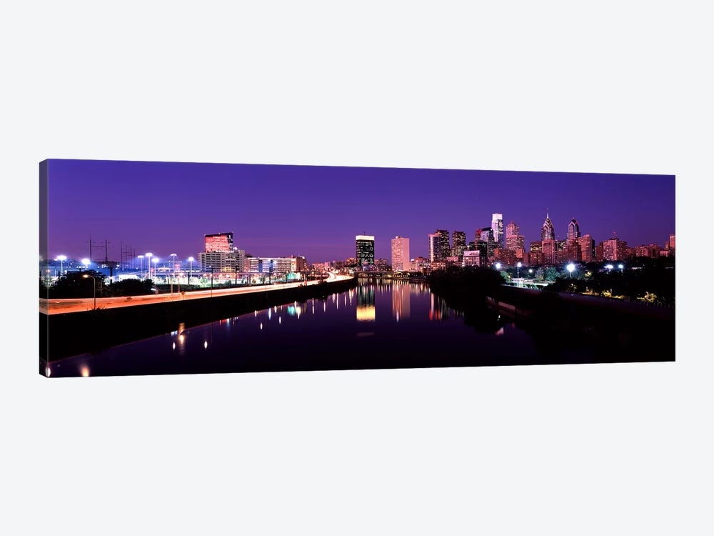 Buildings lit up at the waterfront, Philadelphia, Schuylkill River, Pennsylvania, USA #3 by Panoramic Images 1-piece Canvas Wall Art