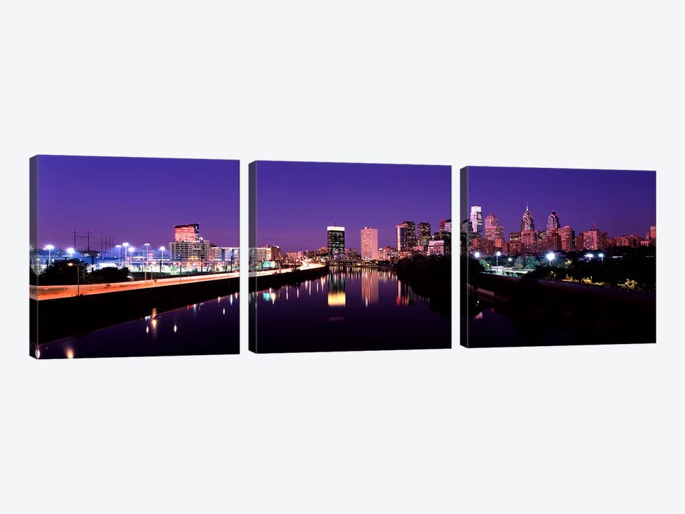 Buildings lit up at the waterfront, Philadelphia, Schuylkill River, Pennsylvania, USA #3 by Panoramic Images 3-piece Canvas Art