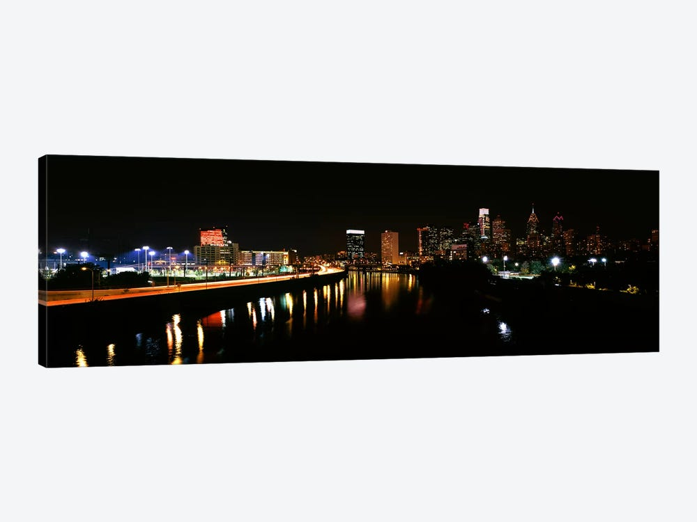 Buildings lit up at the waterfront, Philadelphia, Schuylkill River, Pennsylvania, USA #4 by Panoramic Images 1-piece Canvas Art Print