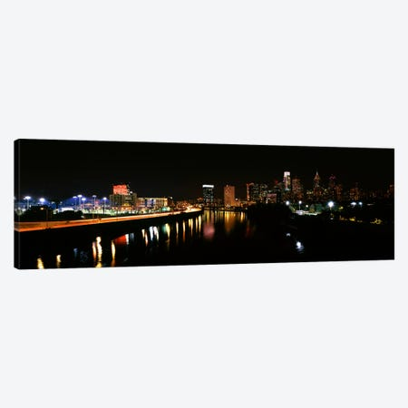Buildings lit up at the waterfront, Philadelphia, Schuylkill River, Pennsylvania, USA #4 Canvas Print #PIM10574} by Panoramic Images Canvas Print