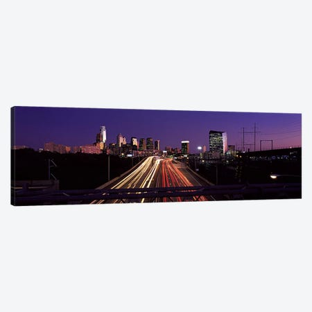 Light streaks of vehicles on highway at dusk, Philadelphia, Pennsylvania, USA Canvas Print #PIM10575} by Panoramic Images Art Print