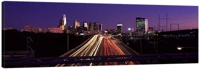 Light streaks of vehicles on highway at dusk, Philadelphia, Pennsylvania, USA Canvas Print #PIM10575
