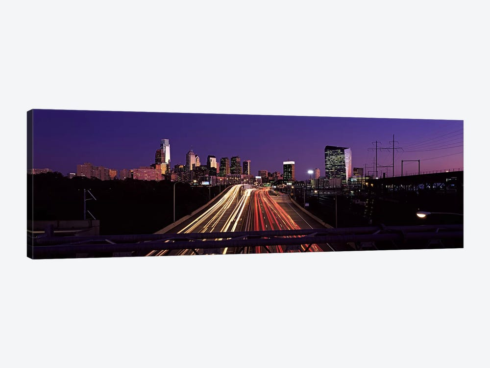 Light streaks of vehicles on highway at dusk, Philadelphia, Pennsylvania, USA by Panoramic Images 1-piece Canvas Wall Art