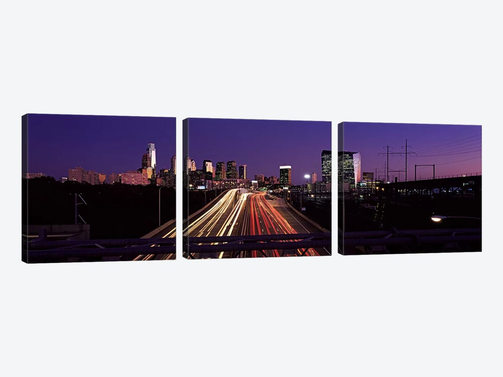 Light streaks of vehicles on highway at dusk, Philadelphia, Pennsylvania, USA by Panoramic Images 3-piece Canvas Wall Art