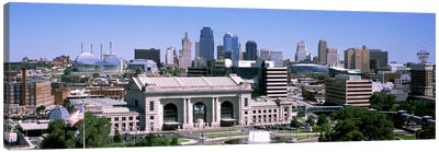 Union Station with city skyline in backgroundKansas City, Missouri, USA Canvas Art Print