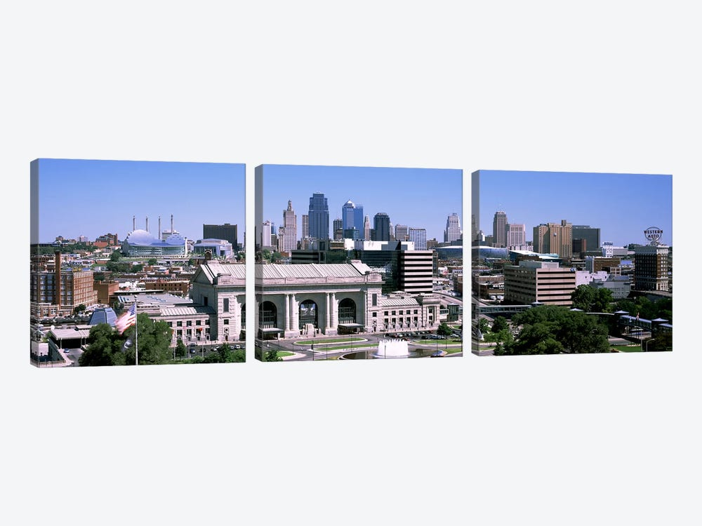 Union Station with city skyline in backgroundKansas City, Missouri, USA by Panoramic Images 3-piece Art Print