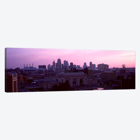 Union Station at sunset with city skyline in background, Kansas City, Missouri, USA Canvas Print #PIM10577} by Panoramic Images Art Print
