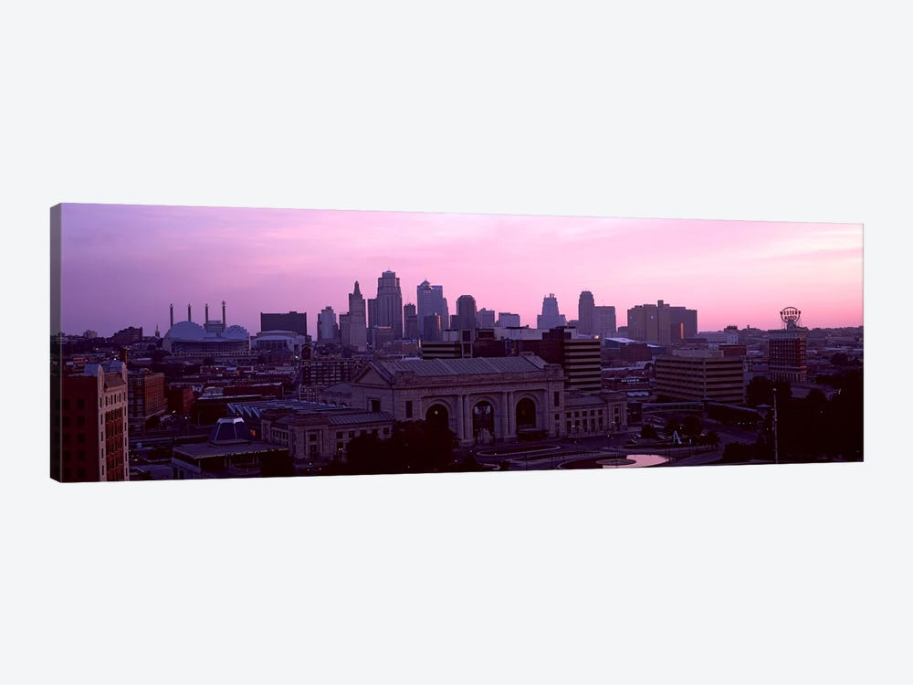 Union Station at sunset with city skyline in background, Kansas City, Missouri, USA 1-piece Canvas Art