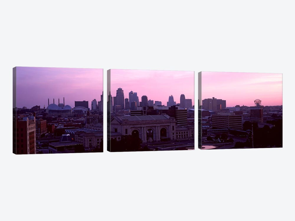 Union Station at sunset with city skyline in background, Kansas City, Missouri, USA by Panoramic Images 3-piece Canvas Artwork