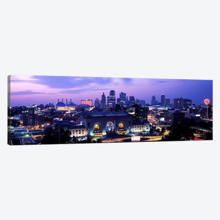 Union Station at sunset with city skyline in backgroundKansas City, Missouri, USA Canvas Print #PIM10578} by Panoramic Images Canvas Artwork
