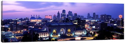 Union Station at sunset with city skyline in backgroundKansas City, Missouri, USA Canvas Art Print