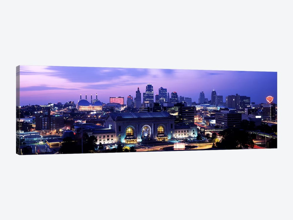 Union Station at sunset with city skyline in backgroundKansas City, Missouri, USA by Panoramic Images 1-piece Art Print