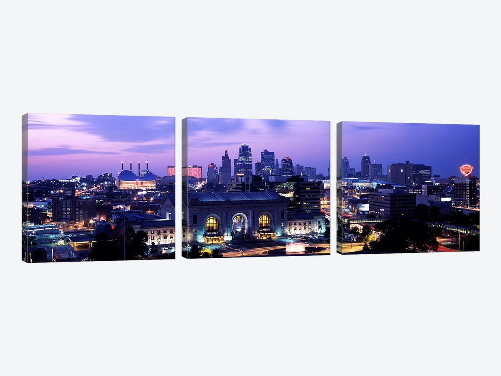 Union Station at sunset with city skyline in backgroundKansas City, Missouri, USA by Panoramic Images 3-piece Canvas Art Print