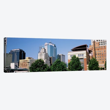 Low angle view of skyline, Kansas City, Missouri, USA Canvas Print #PIM10581} by Panoramic Images Art Print