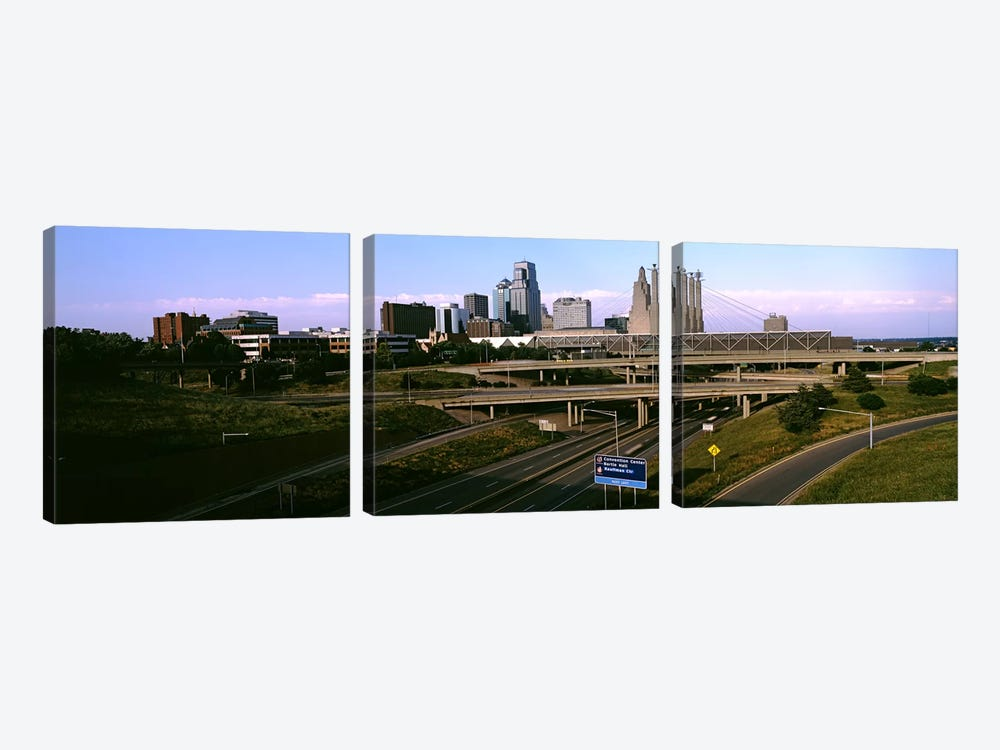 Highway interchange, Kansas City, Missouri, USA by Panoramic Images 3-piece Canvas Artwork
