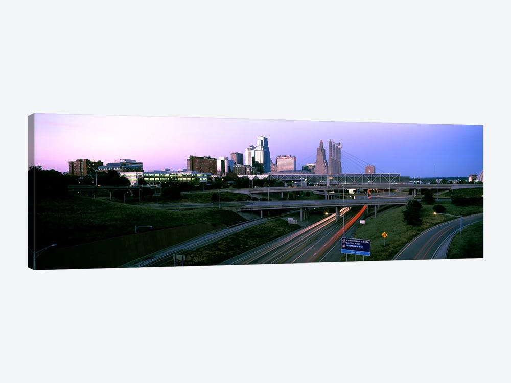 Highway interchange and skyline at sunset, Kansas City, Missouri, USA by Panoramic Images 1-piece Canvas Art Print