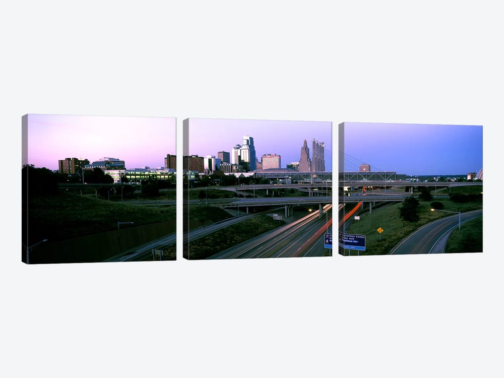 Highway interchange and skyline at sunset, Kansas City, Missouri, USA by Panoramic Images 3-piece Canvas Print