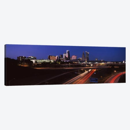 Highway interchange and skyline at dusk, Kansas City, Missouri, USA Canvas Print #PIM10584} by Panoramic Images Canvas Art