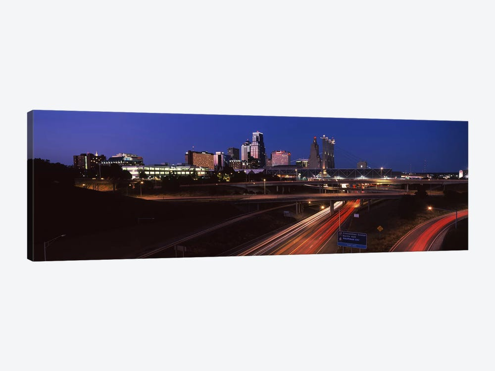 Highway interchange and skyline at dusk, Kansas City, Missouri, USA by Panoramic Images 1-piece Canvas Art