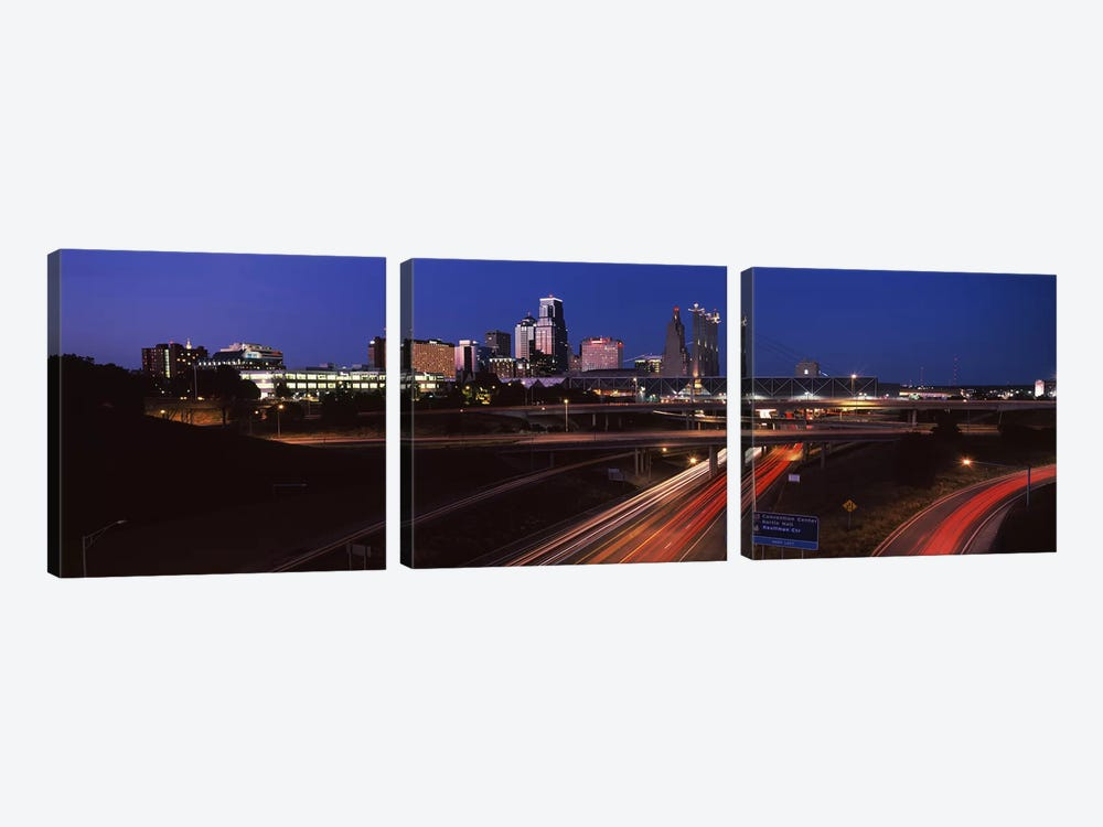 Highway interchange and skyline at dusk, Kansas City, Missouri, USA by Panoramic Images 3-piece Canvas Artwork
