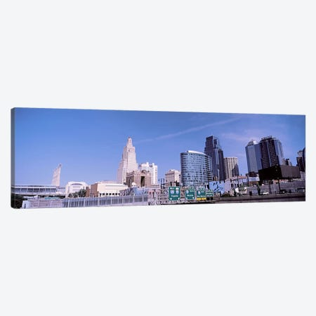 Low angle view of downtown skyline, Kansas City, Missouri, USA Canvas Print #PIM10589} by Panoramic Images Canvas Art Print
