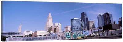 Low angle view of downtown skyline, Kansas City, Missouri, USA Canvas Print #PIM10589