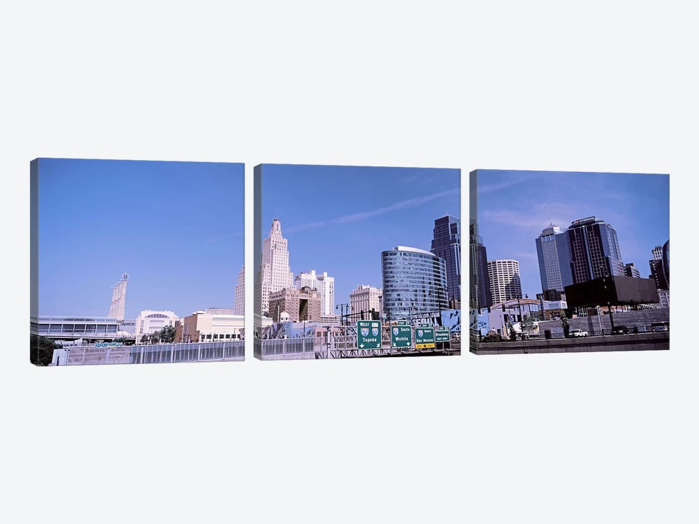 Low angle view of downtown skyline, Kansas City, Missouri, USA by Panoramic Images 3-piece Canvas Print