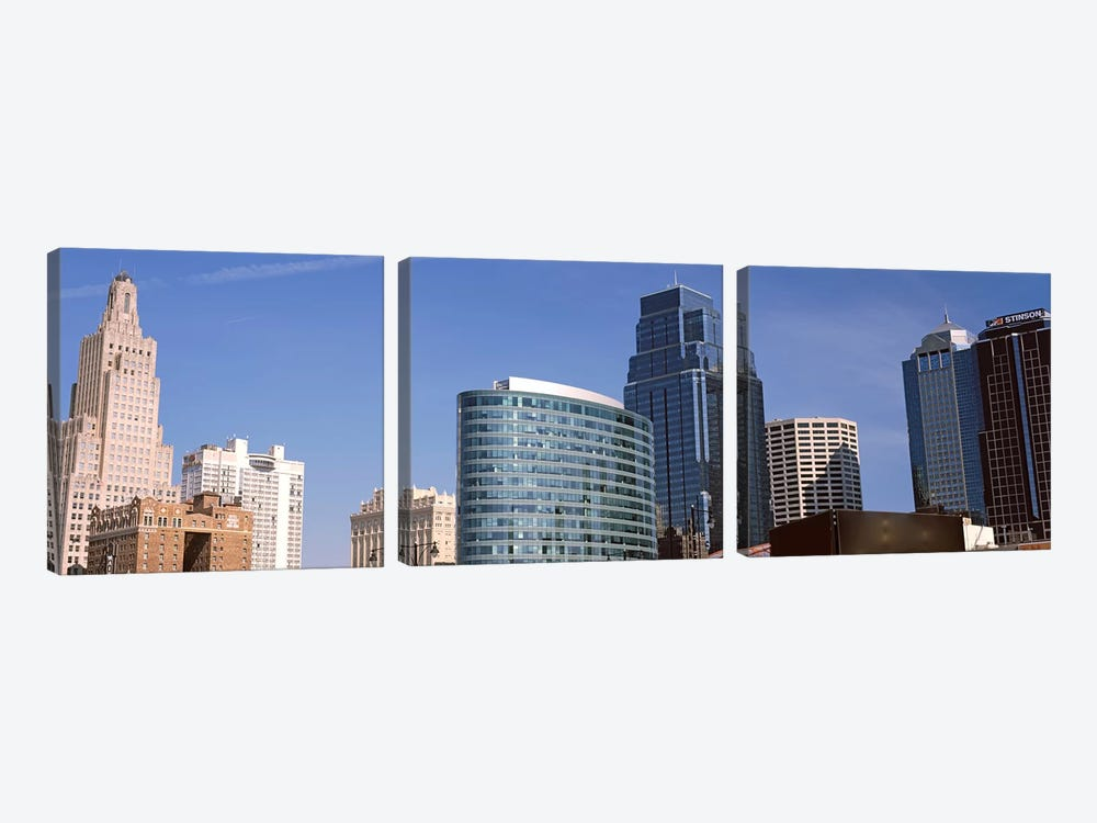 Low angle view of downtown skyline, Kansas City, Missouri, USA #2 by Panoramic Images 3-piece Art Print