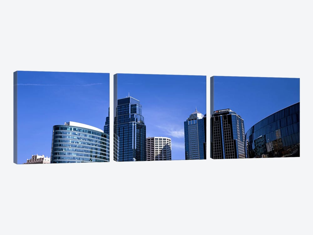 Low angle view of downtown skyline, Kansas City, Missouri, USA #3 3-piece Canvas Artwork